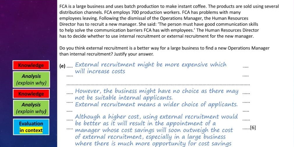 Paper 1 Structure knowledge , analysis, evaluation IGCSE Business Studies