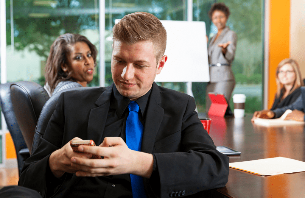Man on cellphone, distracted
