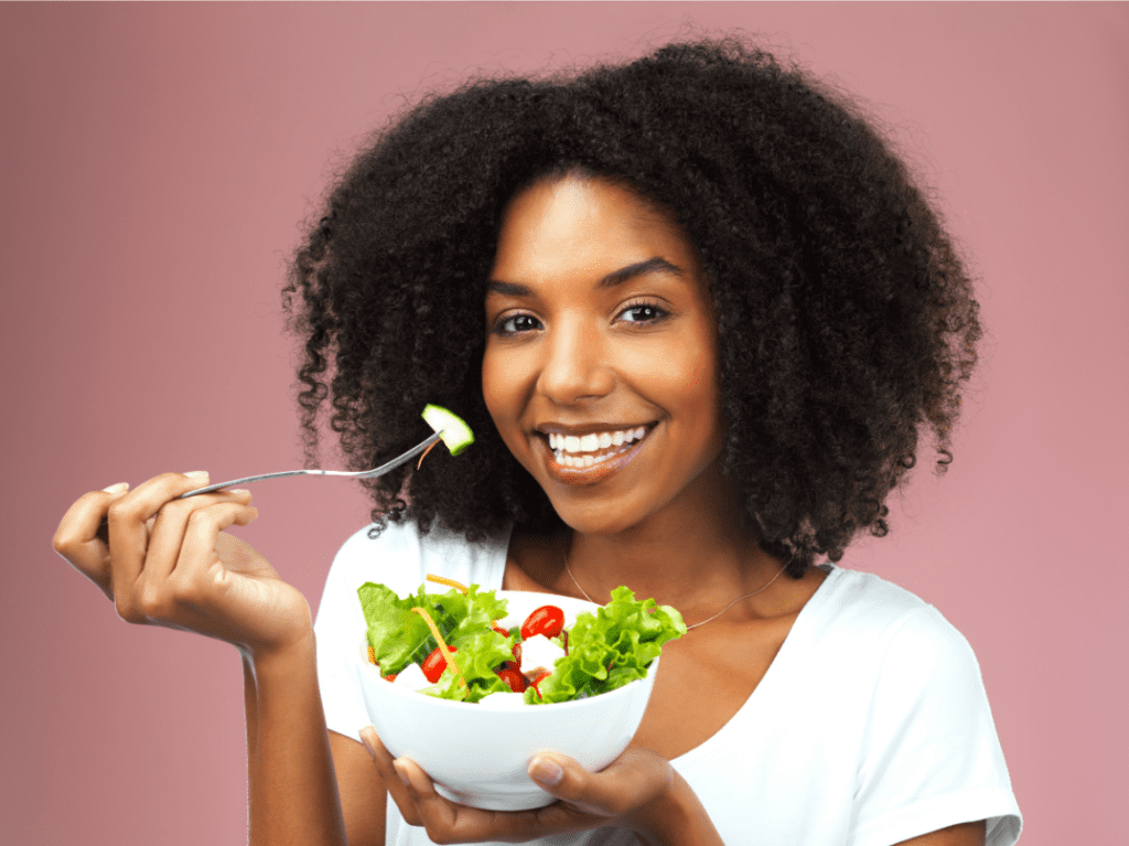 woman eating healthy food, eat well
